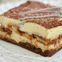 This classic Tiramisu is made authentically in the Italian way, with espresso soaked ladyfingers layered with a light and airy mascarpone cream, and dusted with cocoa powder to finish. This is a great make ahead dessert and perfect for entertaining! Easy No Bake Desserts, Homemade Desserts, No Bake Treats, Delicious Desserts, Dessert Recipes, Yummy Food, Scones Ingredients, Italian Desserts, Sorbet