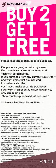 "HAPPY NEW YEAR SHOPPERS, CLIENTS & FRIENDS ** PLEASE READ PHOTO DESCRIPTION prior to shopping ** FOR BEST SALE OPPORTUNITY  **  Couple sales going on with my closet. Each one is separate to the other and ""cannot"" be combined.  If you purchase from any sale offer & want items that are included in another sale offer. You ""must"" make separate purchases.  I will work in discounted shipping with you, depending on ""how much is purchased at one time.""  See the photo description to the left for all…"
