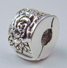 Rose Silver Plate Double Faced Lock European Large Hole Bead Charm available in Good Things From Louisiana, an ebay store.
