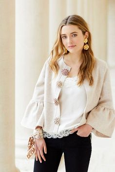 How to Wear Vintage Brooches on Line & Dot Sheridan Ruffle Jacket from Sweet & SparkSheridan Ruffle Jacket