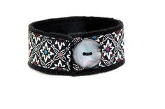 Dark jewel ribbon and felt cuff by ATreasureTree on Etsy, $12.00