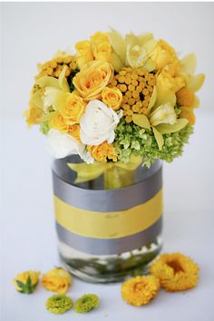 yellow and gray wedding