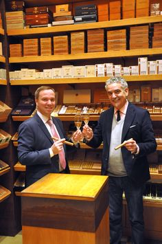 Chef Mario Gamba with Mirko Pettene in Zechbauer walk-in humidor