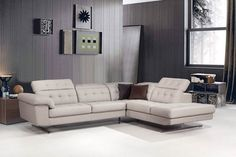 Divani Casa Veneto Modern Grey Italian Leather Sectional Sofa - VGCA992-GRYProduct : 16279|26279Features :Upholstered In Italian Leather/Leather SplitColor: Grey Cat.3 7476Adjustable HeadrestsRight Facing ChaiseStainless Steel FeetAvailable In Other Upholstery By Special Order (10-16 Weeks)Dimensions :2 Seater: W72
