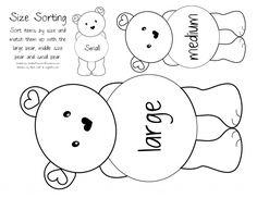 Teddy bear size sort, (copy on brown paper),