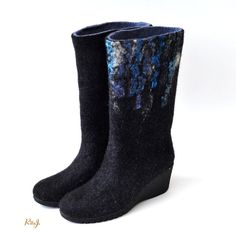 Women felted boots from natural softest merino wool. Made to order.. $150.00, via Etsy.