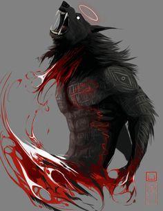 Werewolf Art by SenkKeidraws Fantasy Kunst, Dark Fantasy Art, Dark Art, Mythical Creatures Art, Fantasy Creatures, Anime Lobo, Beast, Werewolf Art, Werewolf Tattoo