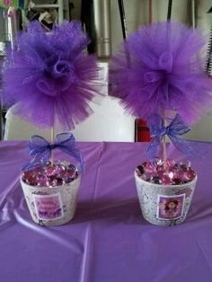 Sofia the first centerpieces do it yourself dumdum lollipops sofia the first tulle centerpiece solutioingenieria Image collections