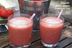 smoothie fraises framboises coco et mangue