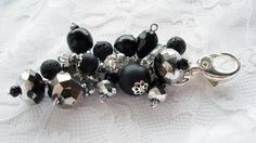 Black and Silver Beaded Purse Charm by snowingstars on Etsy, $14.00