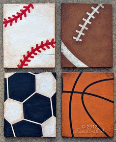 Vintage Sports Weathered Wood Wall Art by MamsCrafted on Etsy. Vintage baseball, football, soccer and basketball art for the boy's room.