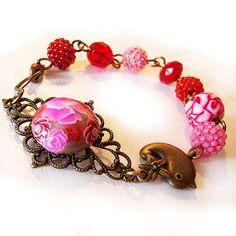 Valentine Bird Red Beads Bracelet