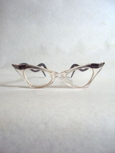 Clear & grey tipped lucite spectacles in fabulous cat eye shape