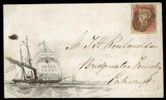 Hand Illustrated and Later Printed Covers: 1850 (Sept. 18th) Bradshaw and Blacklock's Ocean Penny Postage envelope