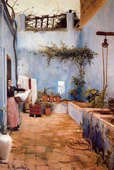 by Santiago Rusiñol i Prats who was a catalan post-impressionist/symbolist painter, poet, . Patio Azul, Spanish Painters, Spanish Artists, Art Espagnole, Art Moderne, Modern Artists, Beautiful Paintings, Oeuvre D'art, Impressionism