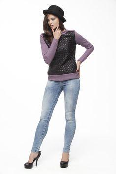 Sweater - Malha Leather Matelassê e Malha Cozi / Calça - Índigo Chevron 9,0oz #COUROS #matelasse #MALHARIA #mesclas #JEANSWEAR #indigos #maquinetados #chevron #FocusonJeans® #FocusTextil