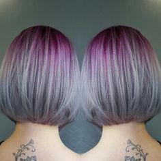 TRANSFORMATION: Aqua To Purple/Silver Sombre   Modern Salon