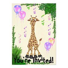 Girls Safari Giraffe Birthday Party Invitation