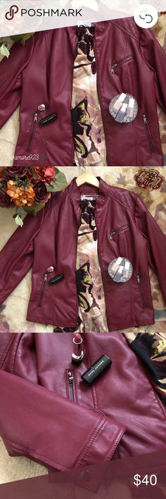 NWOT!! 🎉HP🎉Faux Leather Jacket NWOT!!! 🎉HP Best in Outerwear 11.24.17🎉Never worn!!! Deep, cranberry color! Great transition jacket into winter. Mandarin collar, quilted shoulders, long sleeves; fully lined; three zip pockets; black/nickle hardware. Pair with a great scarf and your set to go! Price firm unless bundled with another item from my closet! Roz & Ali Jackets & Coats