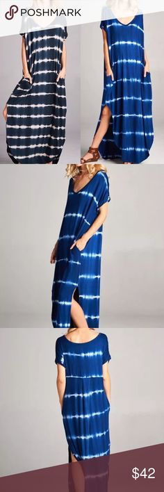 ❣RESTOCK❣ Navy Tie Dye Maxi Dress Available in tie dye navy or solid black. S M L XL. RUNS BIG SO SIZE DOWN ONE. Dresses Maxi
