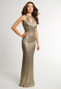 Bring stunning metallic glamour to your next event with this retro-inspired '70s look by Cachet. Get your style on and sashay through the dance floor in this stunning evening dress! Features include a waffle knit beaded cleo collar with keyhole detail, fitted bodice and a beaded empire waist. The back features slight ruching. Gorgeous in every way! Wear this amazing style to Prom, Weddings and all fabulous parties! Complement your look with party sandals, a clutch bag and a statement ...
