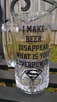 Beer Mug 28oz ~ I make beer disappear - Dad - Grandpa - Uncle - Gift for him…