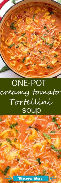 One-Pot Creamy Tomato Tortellini Soup Recipe - The EASIEST homemade creamy tomato tortellini soup made from scratch! Loaded with fresh herbs, diced tomatoes, and three-cheese tortellini! So easy you can even make it in your slow cooker! #slowcooker #slowcook #slowcookerrecipes #slowcookerchicken