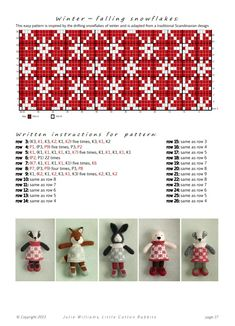 Knitting Charts, Knitting Stitches, Knitting Patterns Free, Baby Knitting, Knitted Bunnies, Knitted Animals, Knitted Dolls, Little Cotton Rabbits, Crochet Instructions