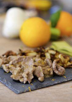 Straccetti di manzo all'arancia e insalatina di finocchi al forno