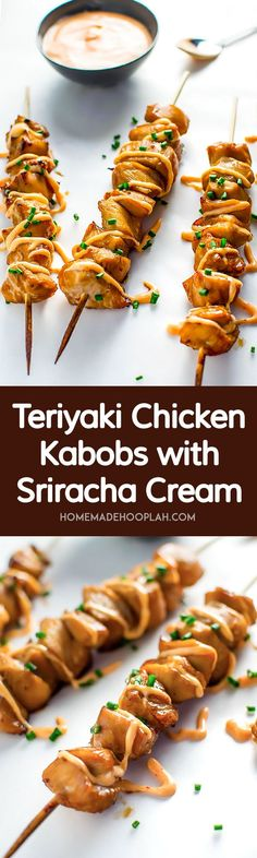Teriyaki Chicken Kabobs with Sriracha Cream! Celebrate the start of summer with an easy 5 ingredient marinade coupled with a creamy sriracha sauce. | HomemadeHooplah.com