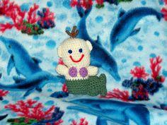 Purple Seashell Baby Mermaid Doll by amydscrochet on Etsy, $7.00