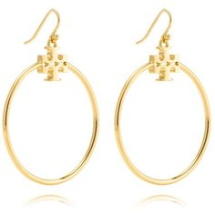 Tory Burch Stacked-T Logo Hoop Earring ($88) ❤ liked on Polyvore featuring jewelry, earrings, accessories, shiny gold, earrings jewelry, dangle earrings, tory burch earrings, logo jewelry and polish jewelry