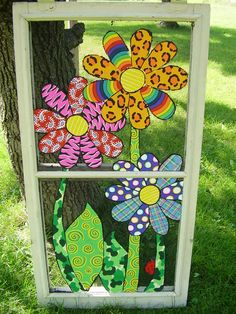 46 Ideas Screen Door Projects Ideas Old Windows Painted Window Screens, Window Screen Crafts, Old Window Screens, Old Screen Doors, Window Art, Window Frames, Window Panels, Glass Screen Door, Room Screen