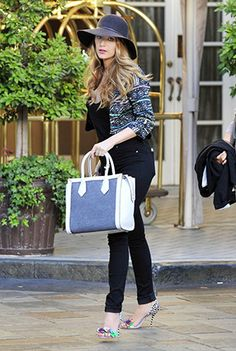 Blake Lively out and about in NYC (April 21, 2015), wearing a Henri Bendel Rivington Canvas Tote bag and : Sophia Webster Lilico Floral Jungle Sandals. #blakelively #style