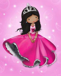 11x14 princess wall art pink or purple girls room decor by jolinne, $24.00