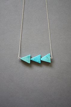 Thataway necklace  aqua silver by scatteredstars on Etsy, $32.00