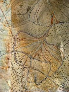 """fiber artist fulvia boriani luciano. """"ginko""""  The ginkgo is a living fossil, with fossils recognisably related to modern ginkgo from the Permian, dating back 270 million years."""