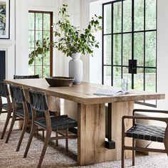 Montauk Rectangular Dining Table | Williams Sonoma Luxury Dining Tables, Modern Dining Table, Dining Table Chairs, Oak Table, Rustic Dining Room Tables, Dining Table Decorations, White Oak Dining Table, Luxury Dining Room, Kitchen Tables