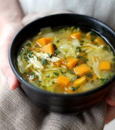 Chicken, Butternut Squash, and Orzo Soup Stepped-up chicken noodle soup with sweet butternut squash, herby sage, and orzo pasta. Easy Chicken Recipes, Soup Recipes, Healthy Recipes, Yummy Recipes, Recipies, Yummy Food, Giada De Laurentiis, Chicken Orzo, Roast Chicken