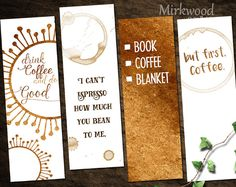 Printable Coffee Bookmarks, Set of 4 Coffee Bookmarks, Coffee Lover Gift, But First, Coffee! - This listing is for a set of 4 printable Coffee bookmarks. We all love coffee (dont we?) Buy once a - Creative Bookmarks, Diy Bookmarks, Crochet Bookmarks, Coffee Lover Gifts, Gift For Lover, Free Printable Bookmarks, Bookmark Craft, Bookmark Ideas, Diy And Crafts