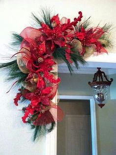 Feels like Christmas! Pair of Red Christmas Swags for Door Frames, Mirrors, Mantels and More. Red and Gold Christmas Decor Gold Christmas Decorations, Christmas Arrangements, Christmas Swags, Noel Christmas, Green Christmas, Holiday Wreaths, Christmas Projects, All Things Christmas, Christmas Holidays