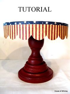 """LOVE THIS! <3 Can be made for ANY OCCASION! Tutorial for a Little """"Cake Stand"""" - using candlestick holder, glue, box top, paint and decoupage!"""