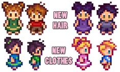 Babies Take After Spouse Plus New Toddler Hair and Clothes at Stardew Valley Nexus - Mods and community Hama Beads, Fuse Beads, Stardew Valley Layout, Stardew Valley Tips, Stardew Valley Farms, Valley Game, Stardew Valley Fanart, Cross Stitch Family, Cool Pixel Art
