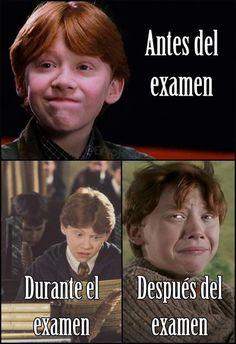 Una chiste de un examen! Tiene Ron Weasley para Harry Potter. Ron esta joven en la pictura. http://www.gorditosenlucha.com/