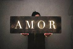 Amor illuminated wood sign