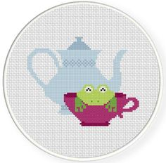 (10) Name: 'Embroidery : Teacup Frog Cross Stitch Pattern