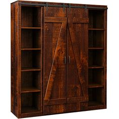 The Barn Door Bookcase is an attractive entertainment center with a beautiful and unique presentation. With rustic rough-milled pine and barn door hardware, smooth sliding action provides ease of access to the two shelves and center cabinet. Martin Furniture, Amish Furniture, Rustic Furniture, Furniture Making, Barn Door Bookcase, Rustic Bookcase, Barn Storage, Tall Cabinet Storage, Bookcase Makeover
