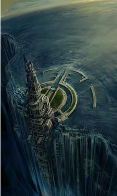 How would this city thrive on (or in spite of) the water in such close proximity? What's beneath the wide circular berth? What do they get from the water pouring down the walls?