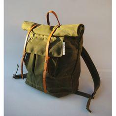 Waxed canvas backpack.