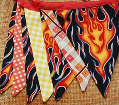 Flames Fabric Bunting, 7 Large Flags, Boy Themed Banner, One of a Kind, Ready To… Big Party, Party Time, Ward Activity Ideas, Chili Party, Neighborhood Party, After Prom, Charity Ideas, Chili Cook Off, Fire Prevention